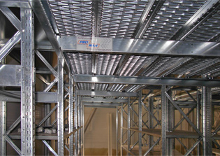 Multilevel Shelving Unit Construction with Mezzanine